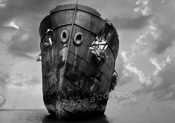 Wreck, fine art photo in black and white